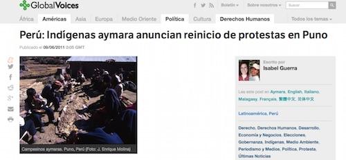 Protestas en Puno ante Proyecto minero