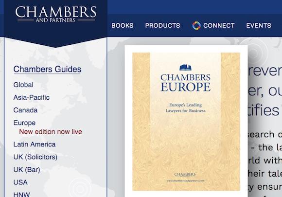 Clasificación Chambers & Partners del arbitraje en España y Portugal