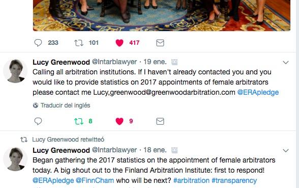 Llamada a cortes de arbitraje para facilitar datos sobre designación de mujeres