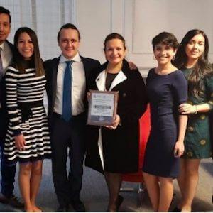 Equipo ganador XI Competencia Internacional de Arbitraje. Universidad Peruana de Ciencias Aplicadas. Foto: Arbitraje Alumni